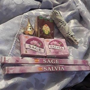 Sage Lot w/brass holder/30 cones/16sticks/smudge
